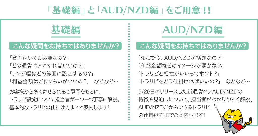 「基礎編」と「AUD/NZD編」をご用意!!